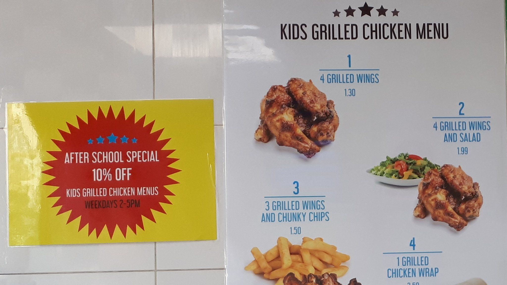 Children's healthy chicken menu
