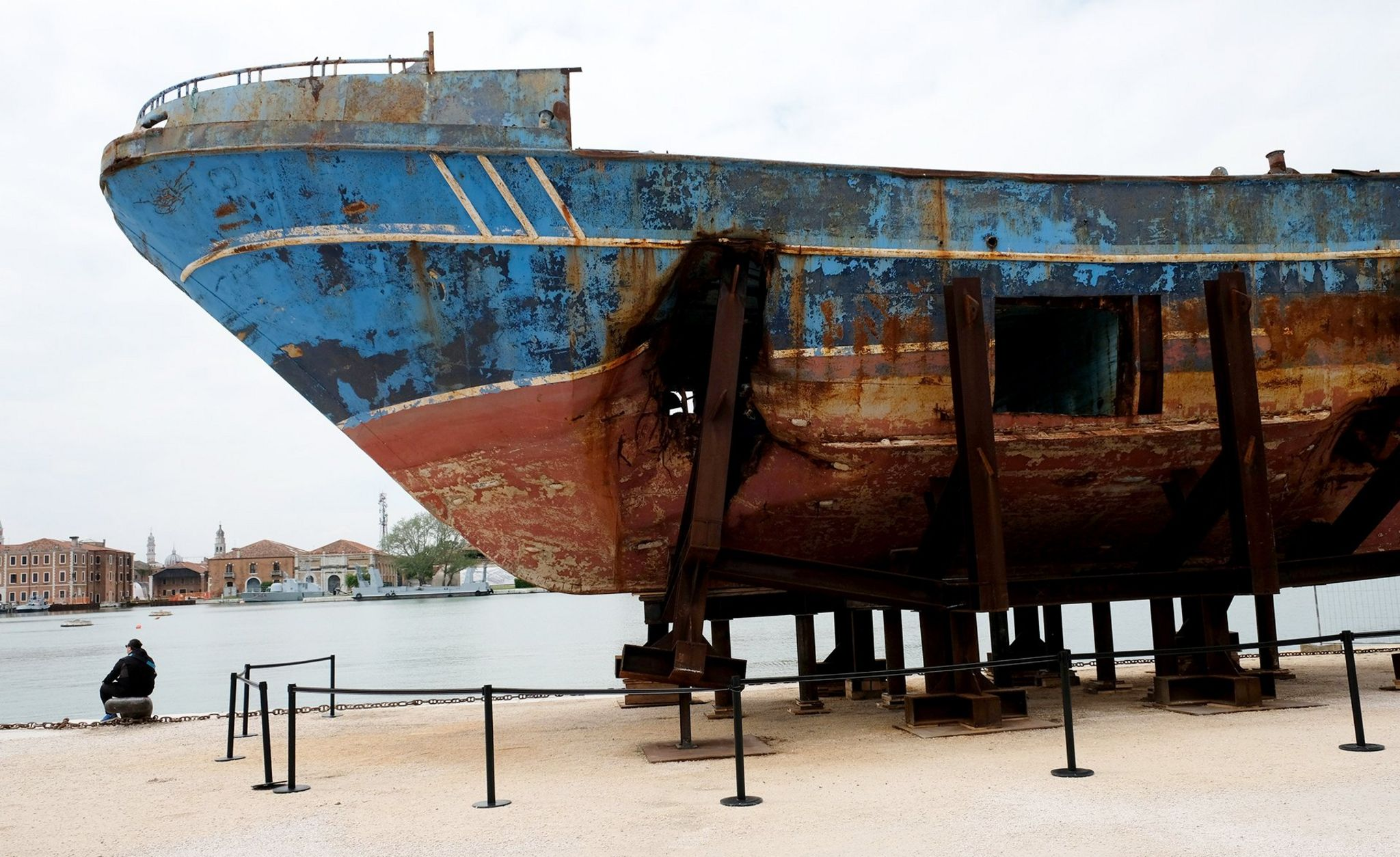 The boat, showing the holes used to retrieve the bodies