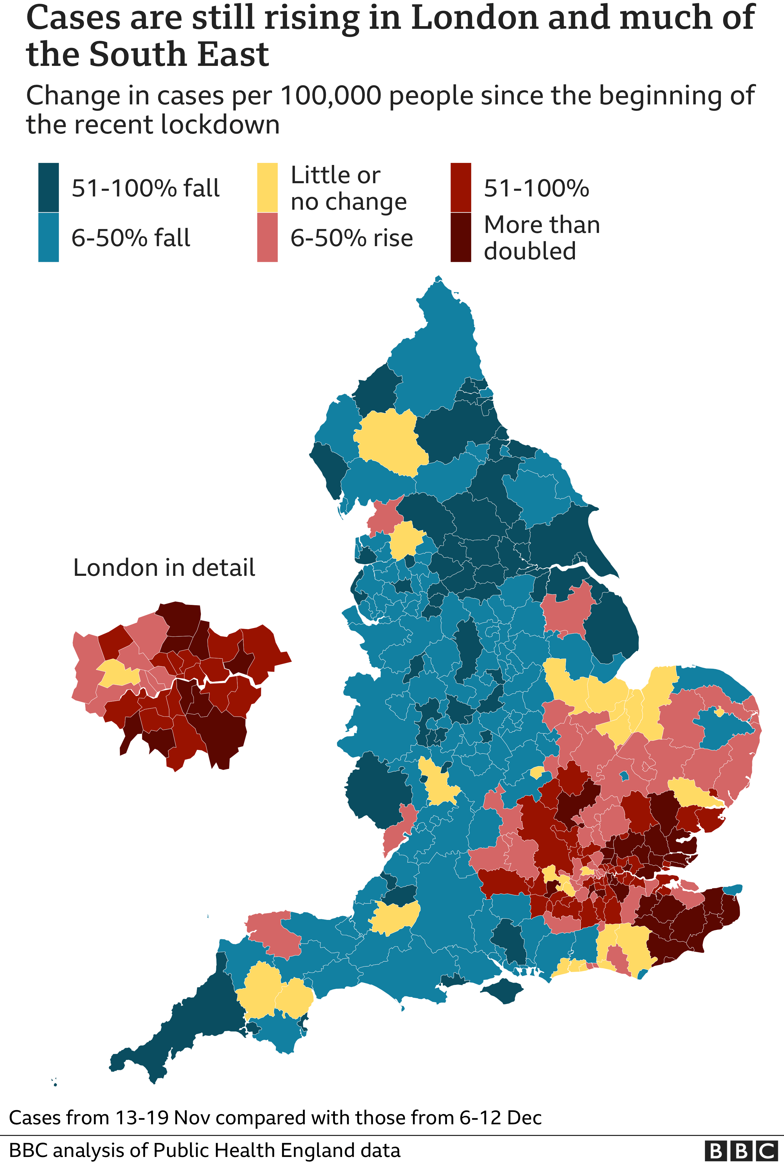 A map showing changes in case rates