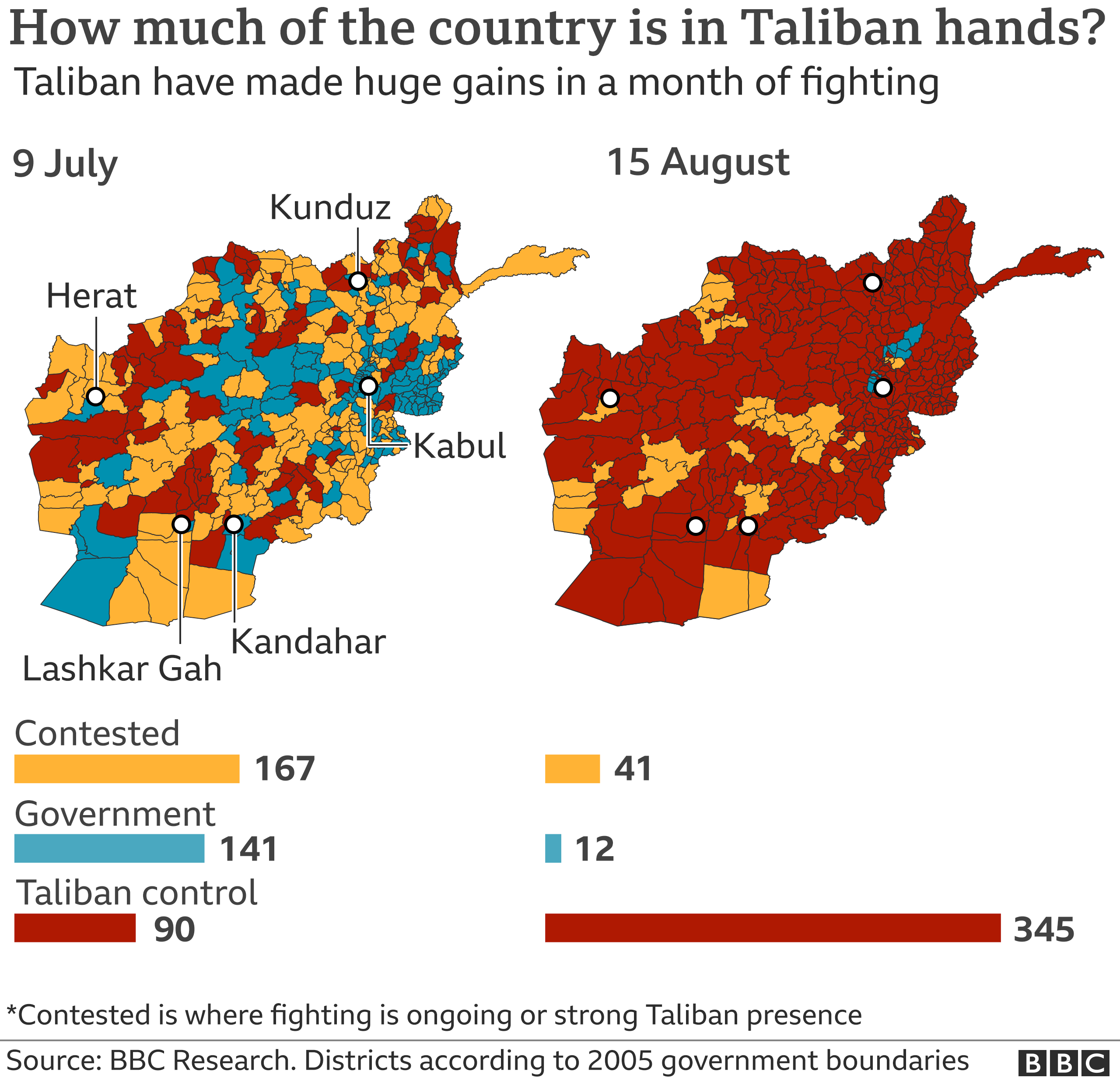 Control map of Afghanistan - 15 August 2021 - third version