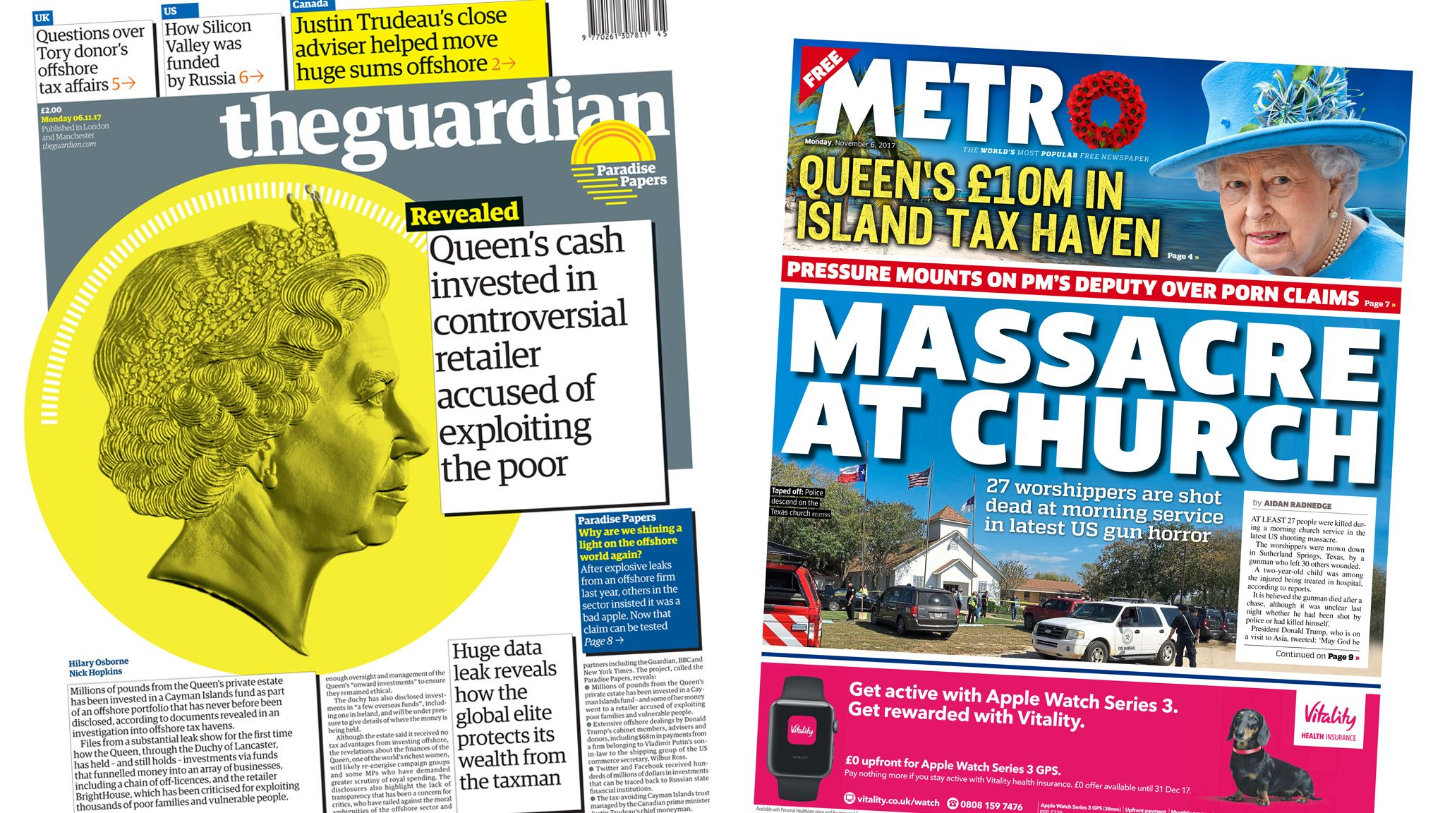 Guardian and Metro front pages