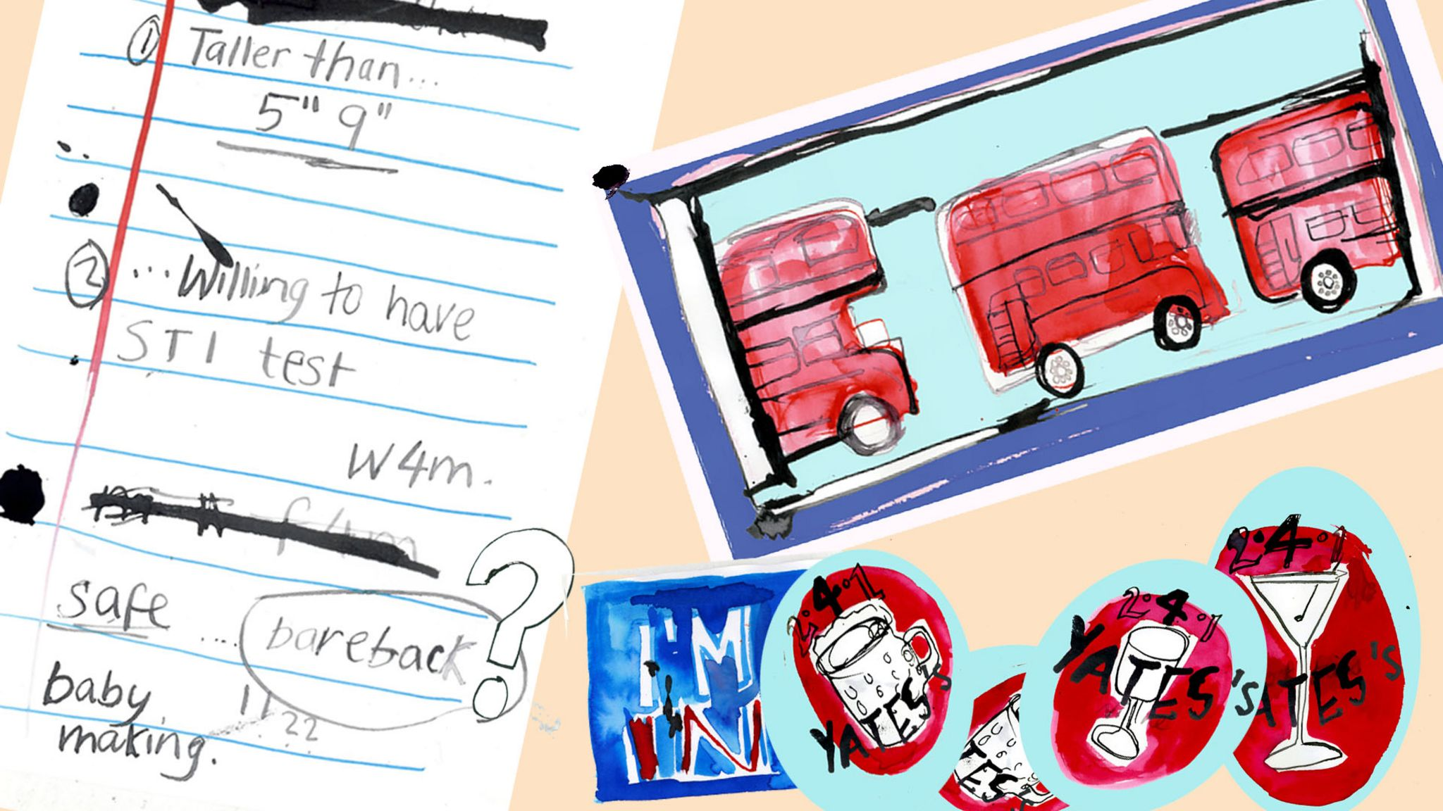 Noticeboard: Craigslist advertisement note, pictures of double-decker bus