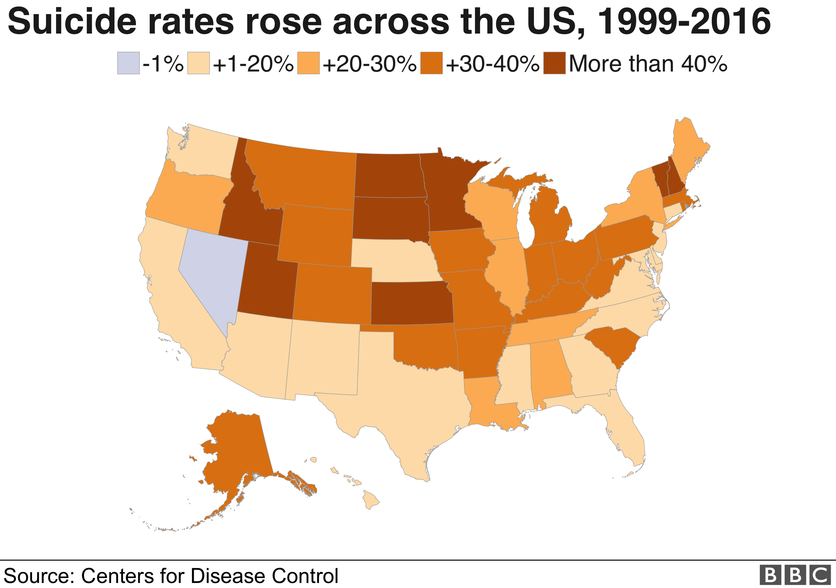 Map showing state-level suicide rate increases across the US