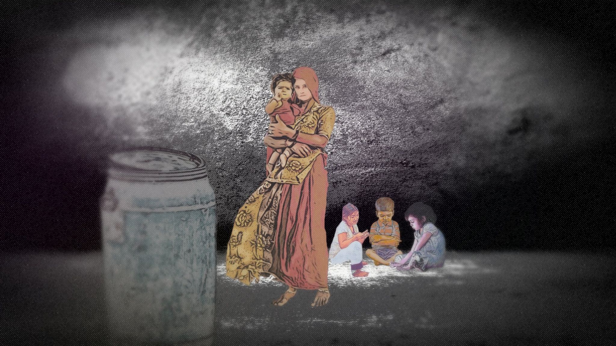 Woman wearing a sari holding a baby with three children sitting playing on the floor.