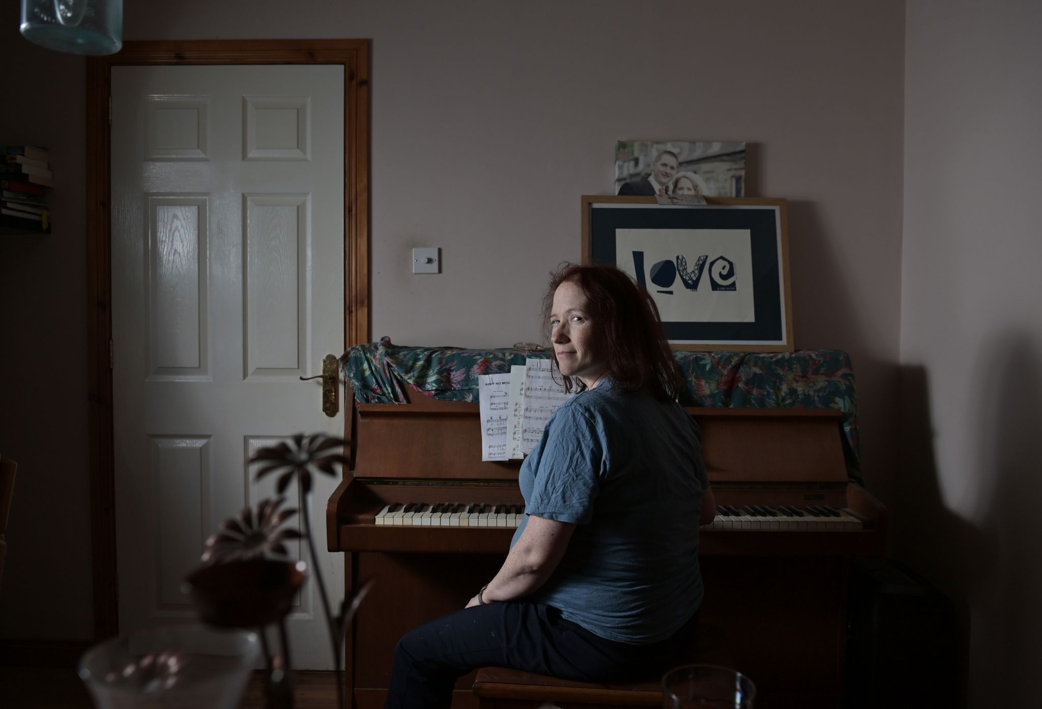 Heather at her mother-in-law's piano