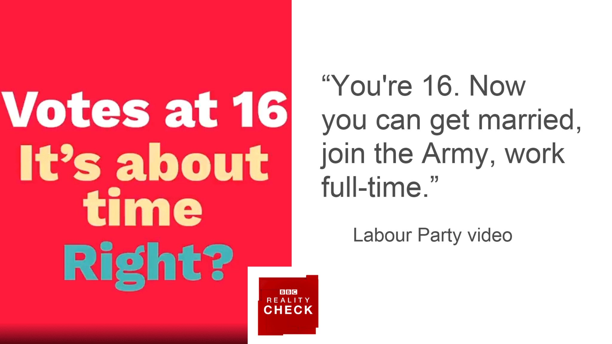 Labour Party campaign: You're 16. Now you can get married, join the Army, work full-time.