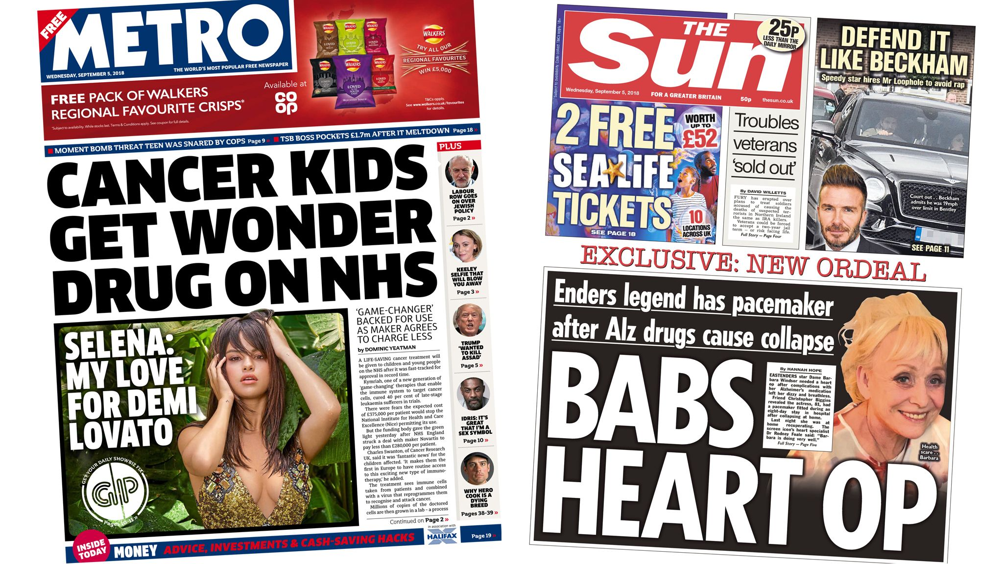 Metro and Sun front pages - 05/09/18