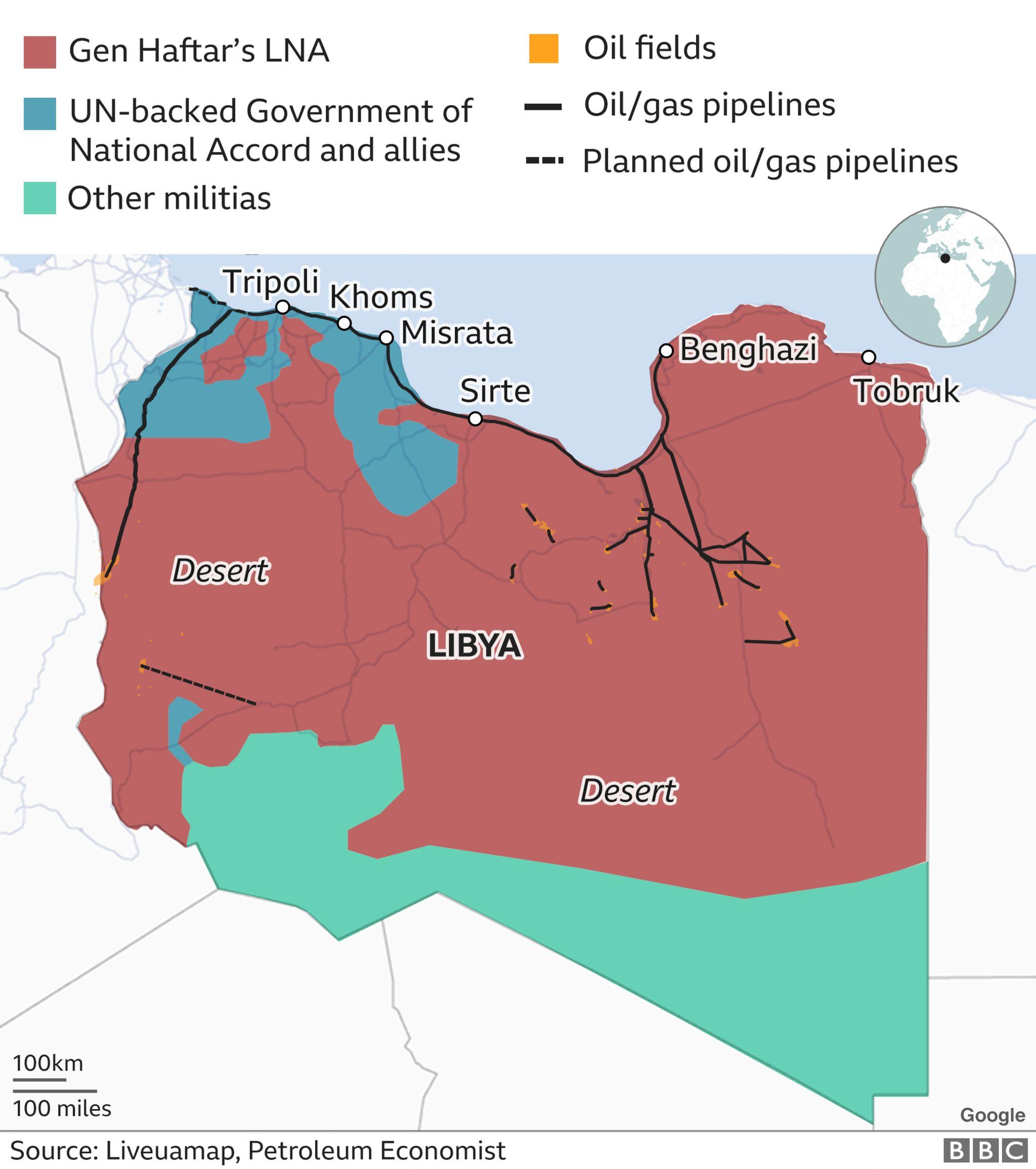 map showing who controls libya