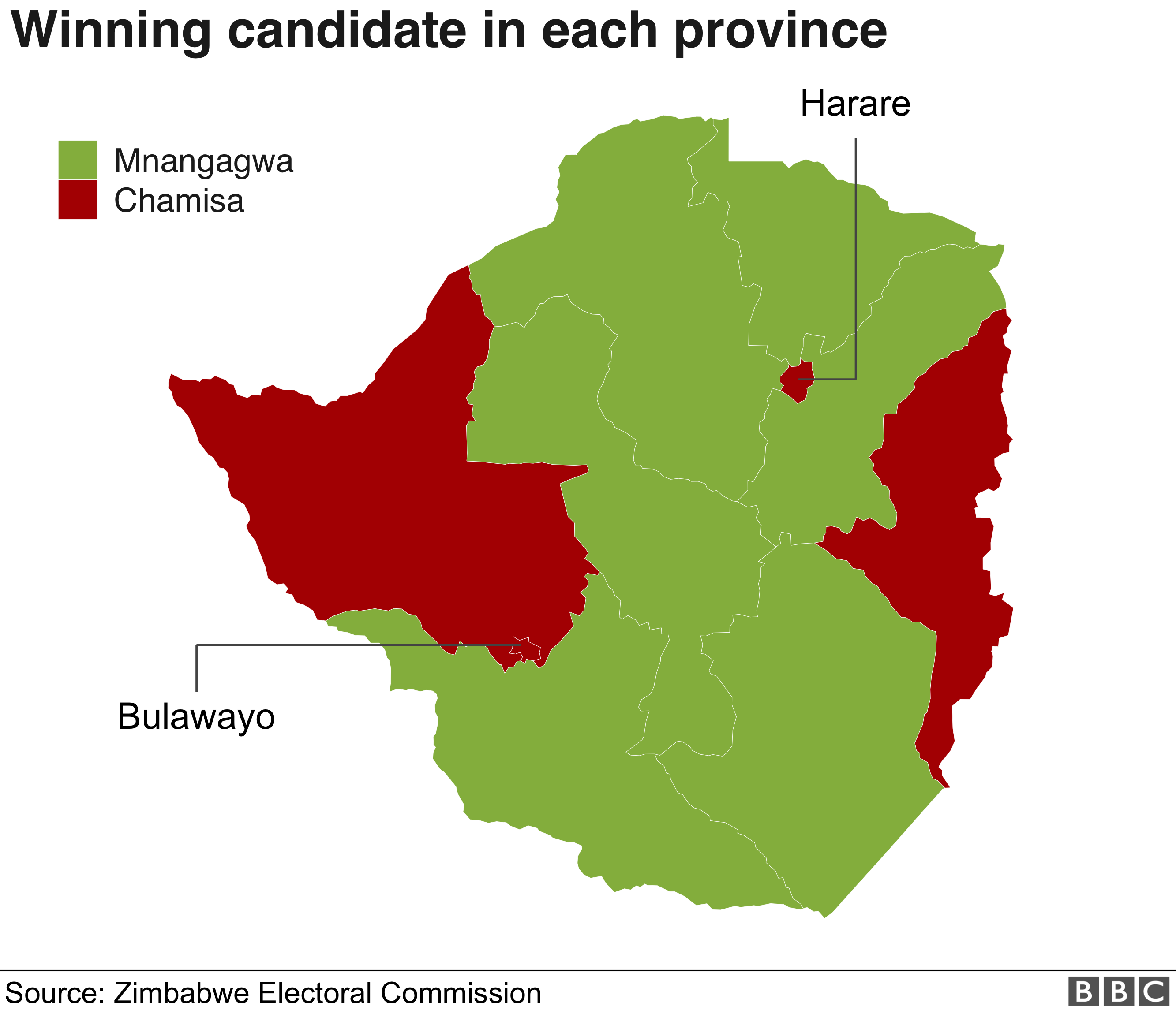 ZImbabwe presidential election results map