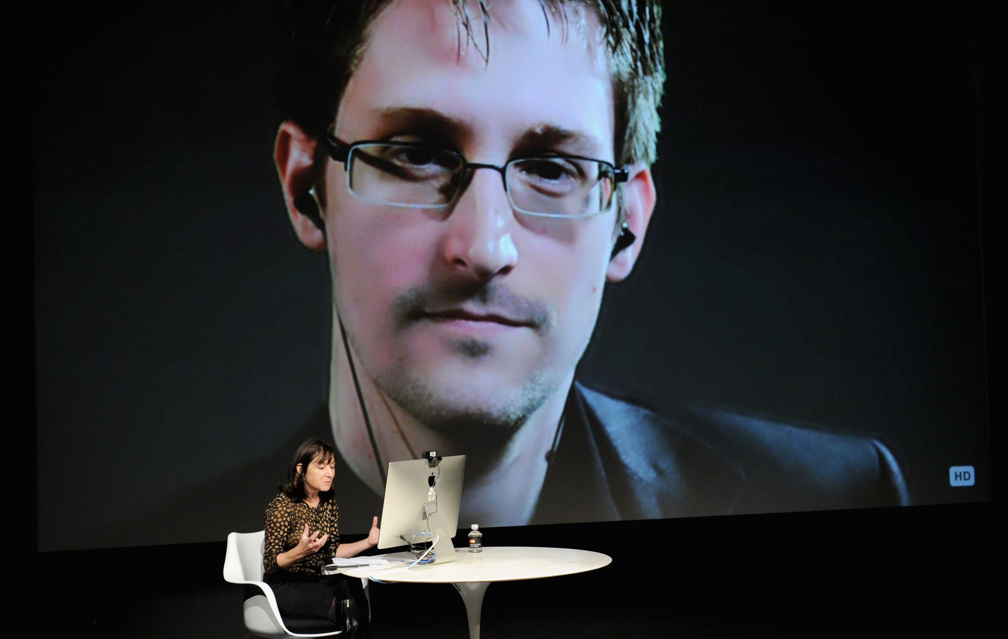 General view of atmosphere at the Edward Snowden Interviewed by Jane Mayer at the MasterCard stage at SVA Theatre during The New Yorker Festival 2014