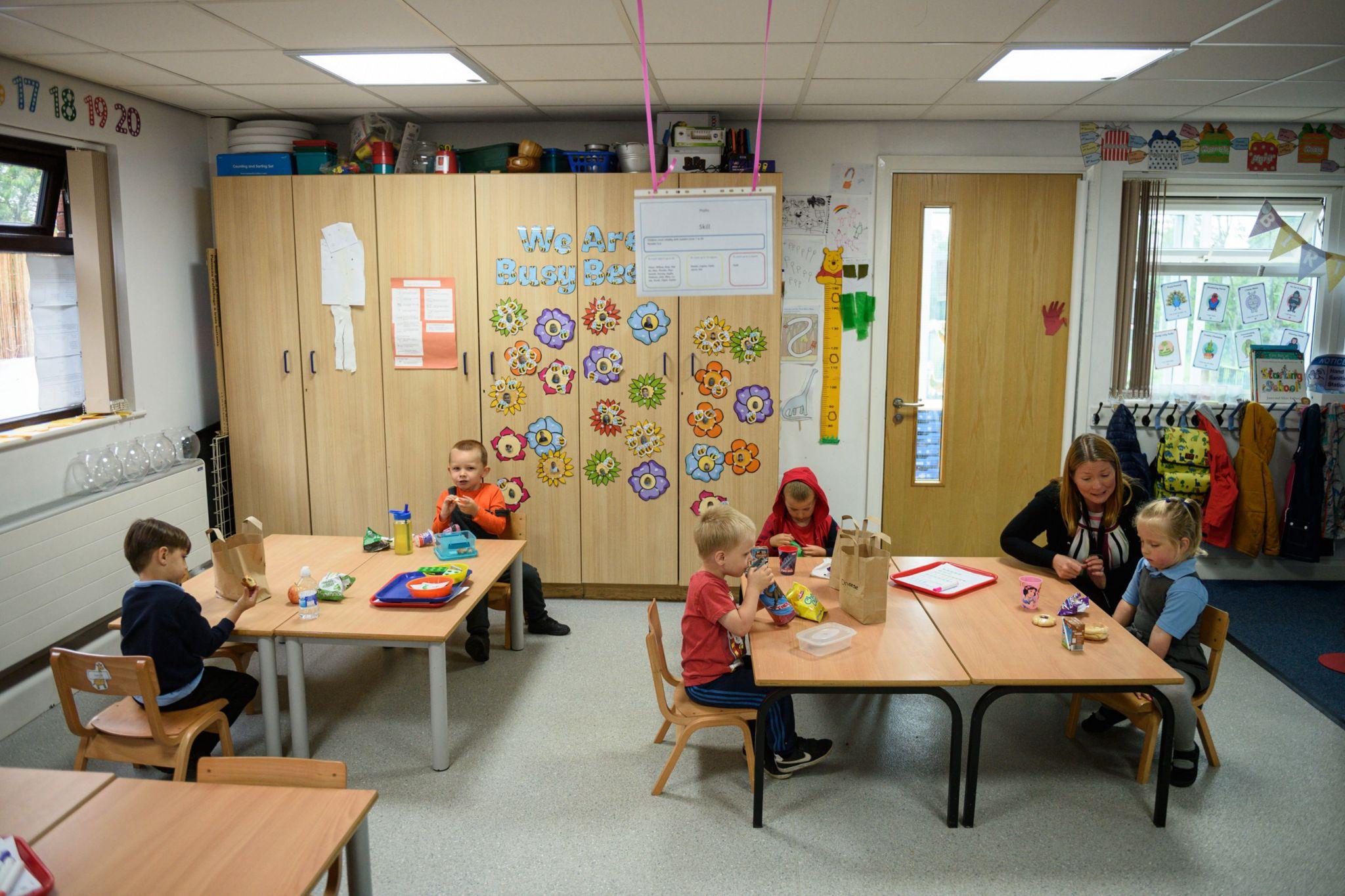 Pre-school teacher supervises a group of young children