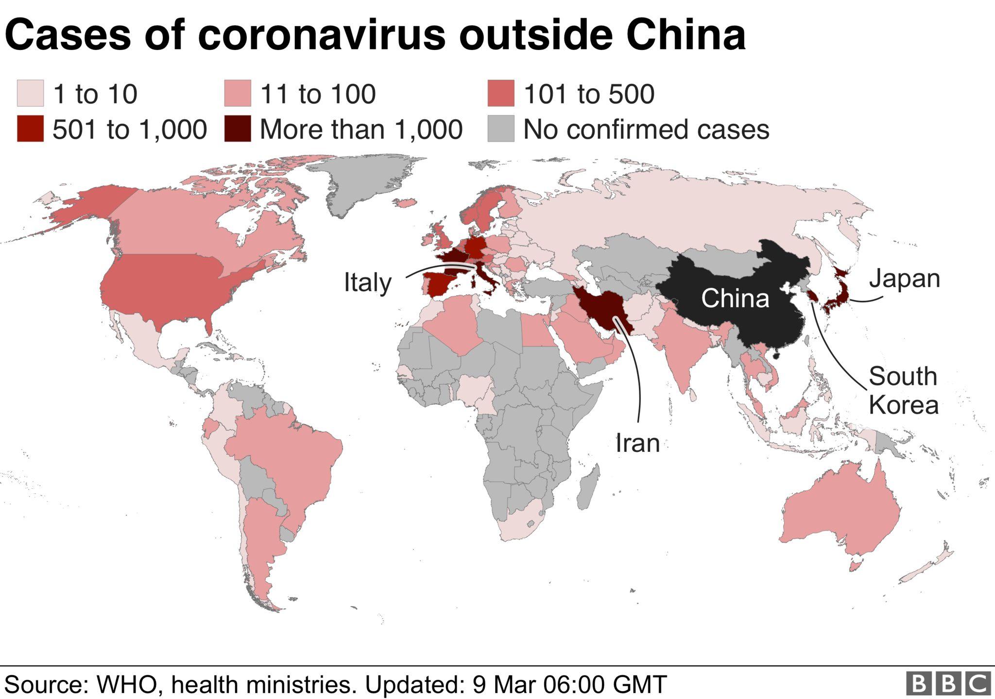 Cases of coronavirus outside China
