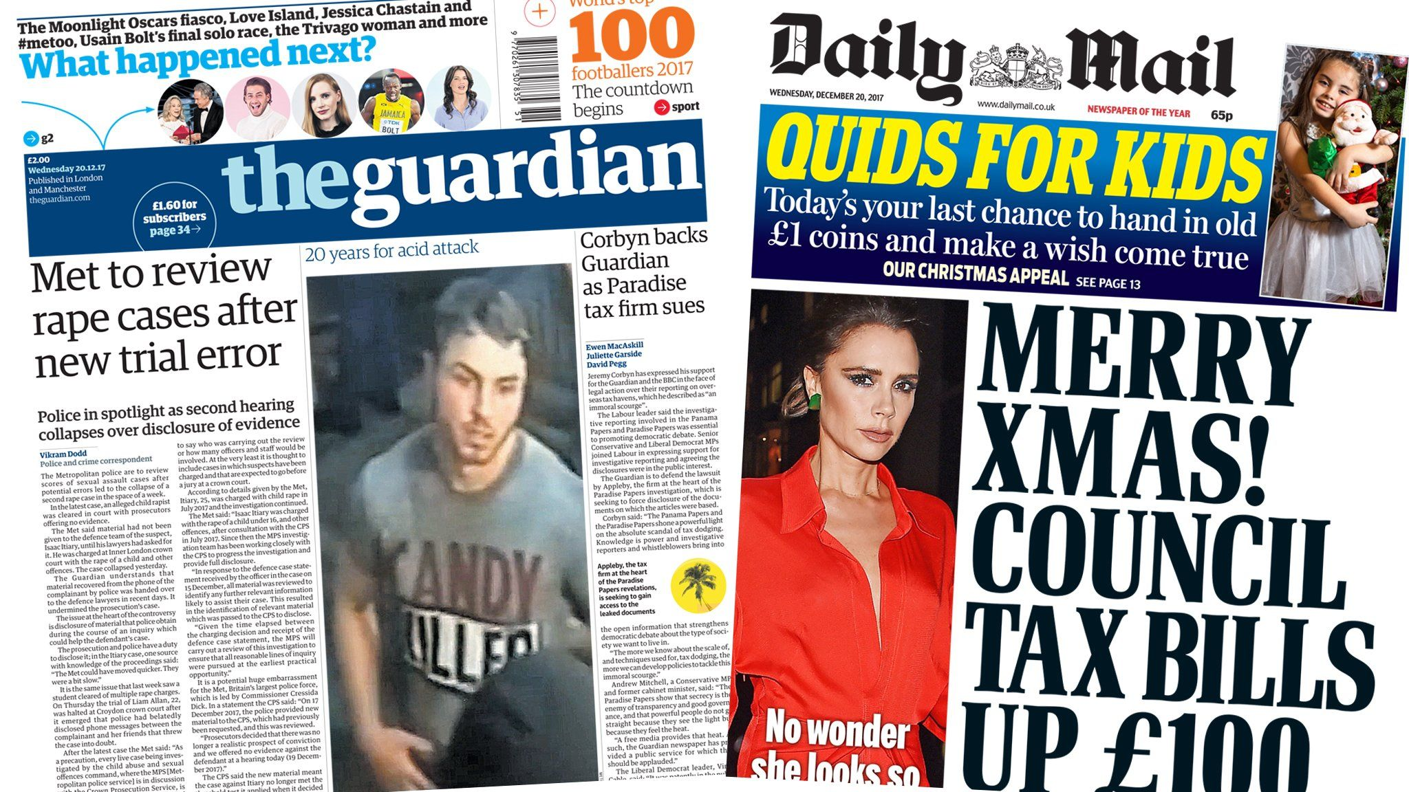 Guardian and Mail front pages 20/12/2017