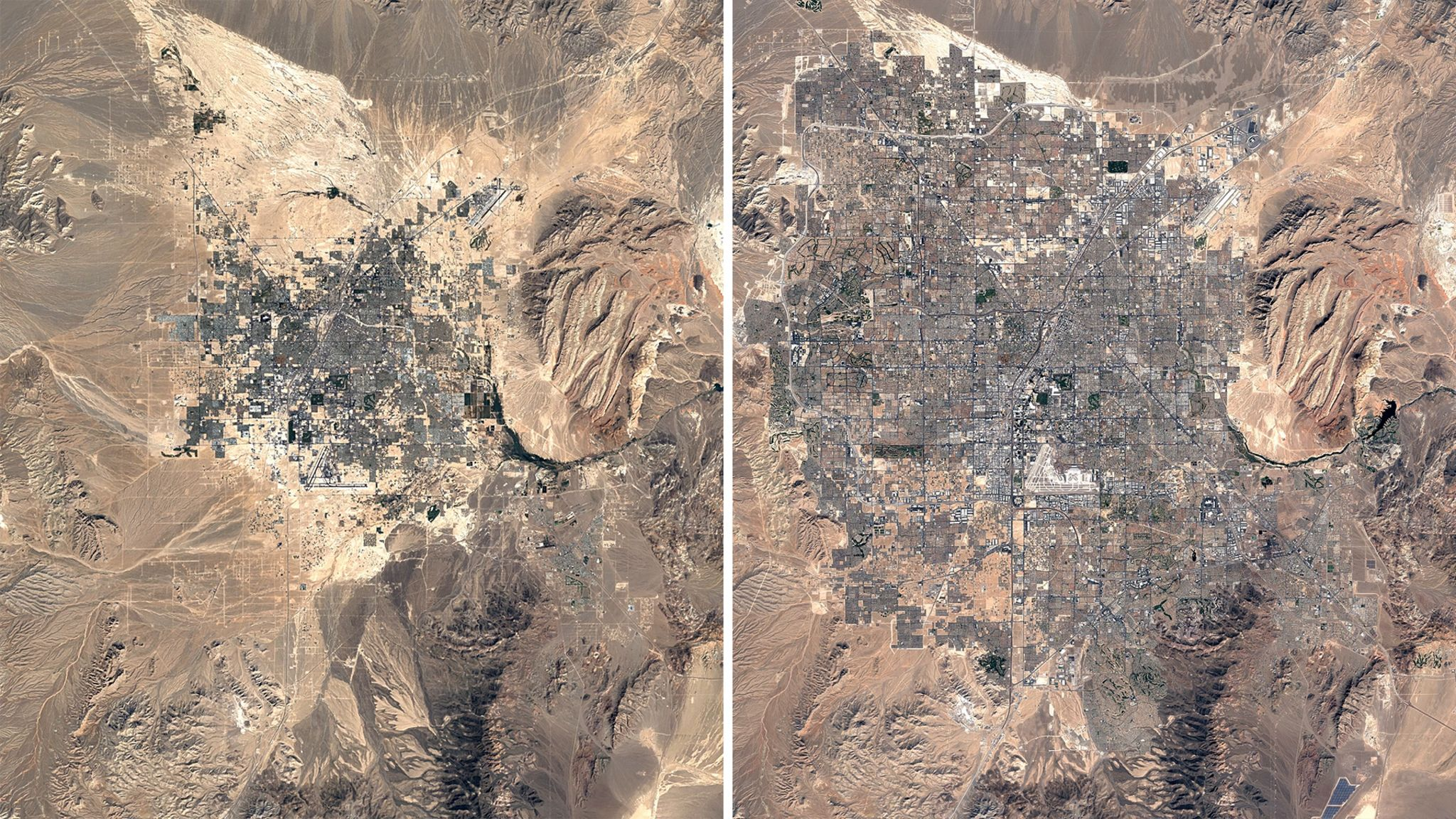 Two versions of Las Vegas side-by-side - one from 1984, one from 2020 - the latter has approximately doubled in size