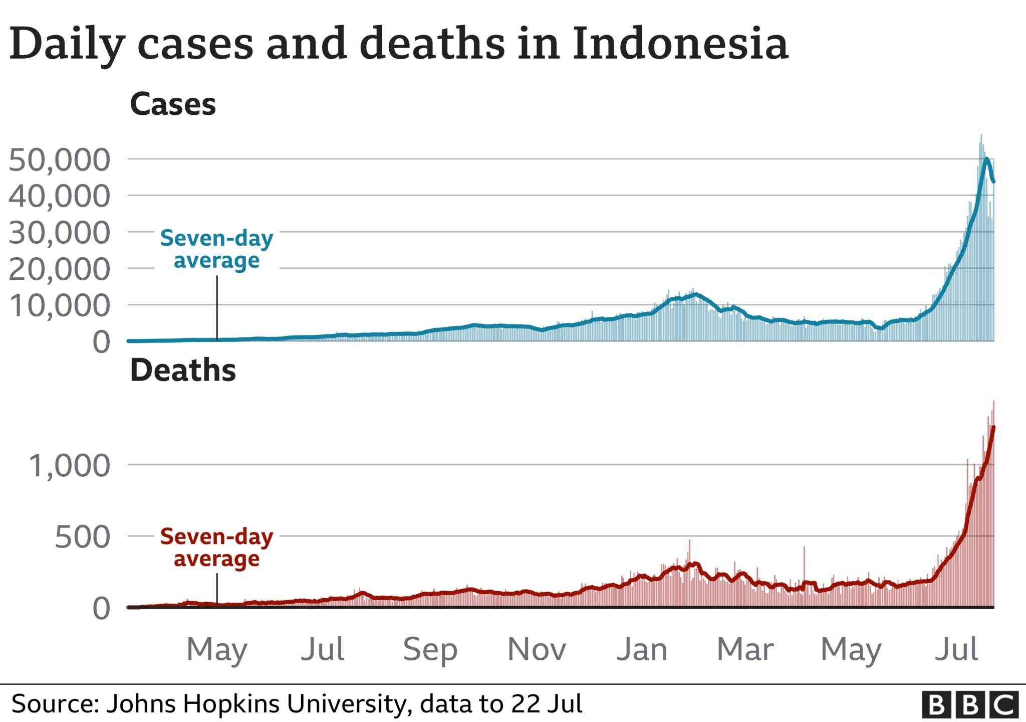 Graph showing rising cases and deaths in Indonesia