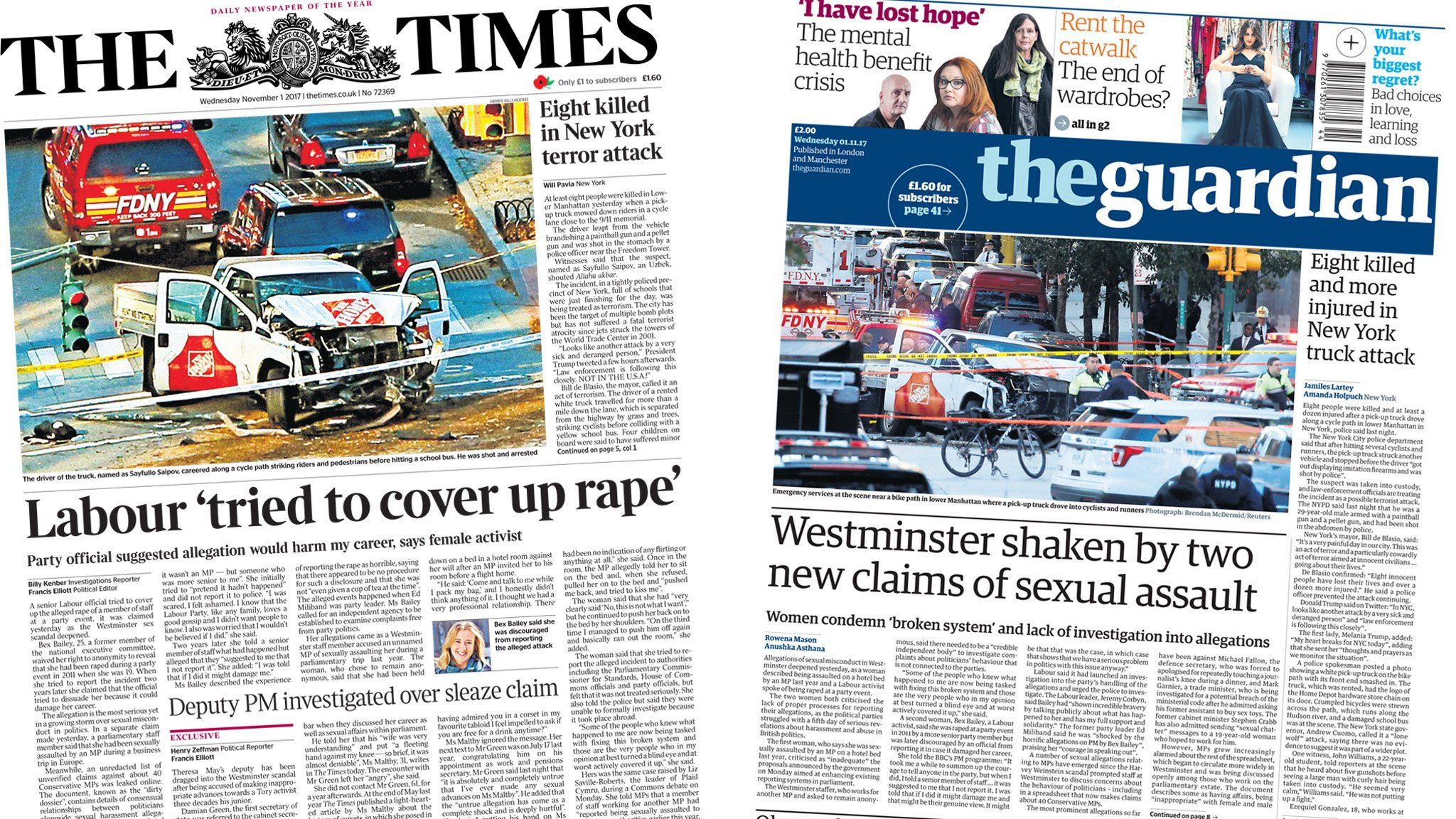 Times and Guardian front pages