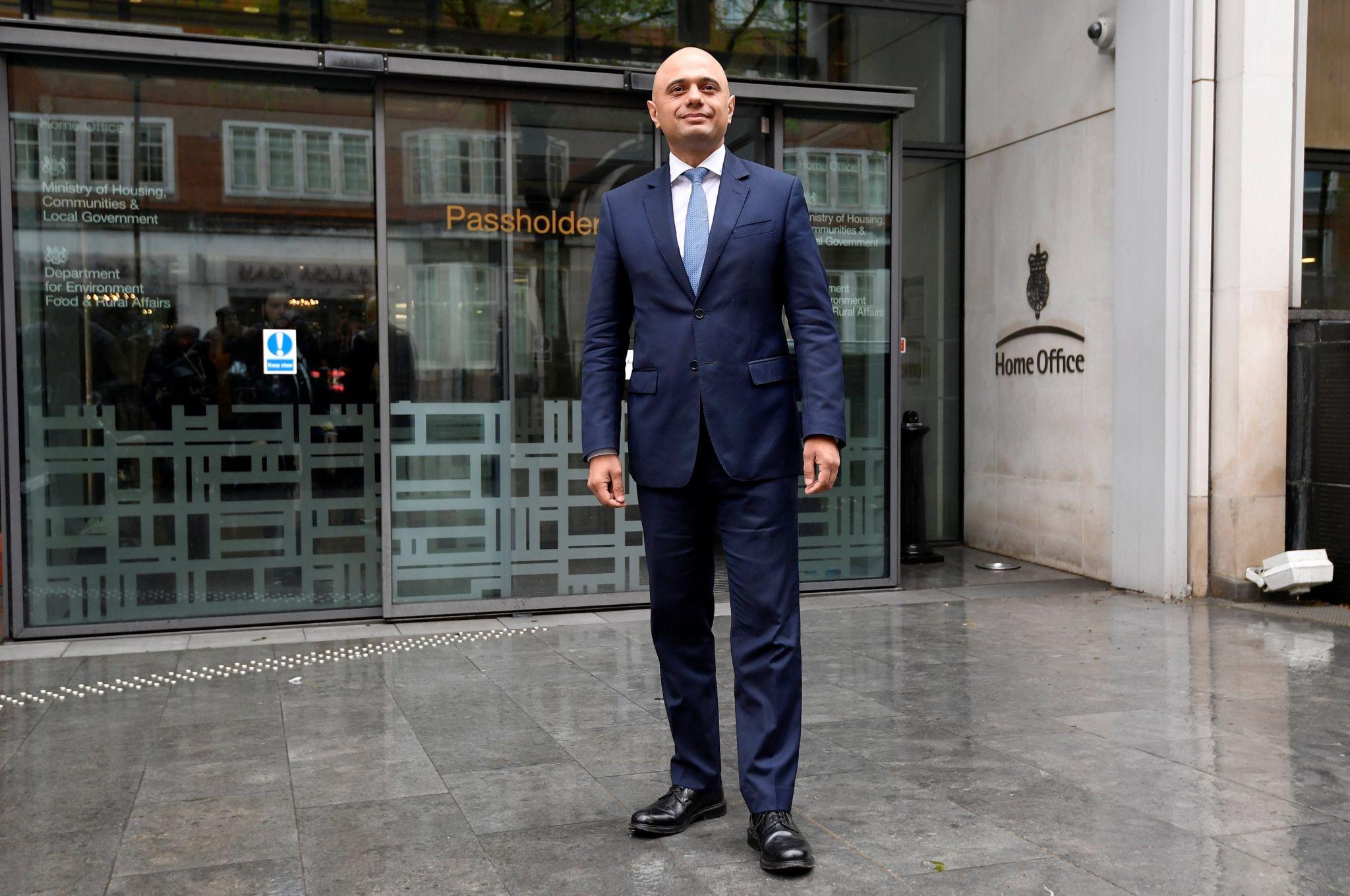 Sajid Javid outside the Home Office