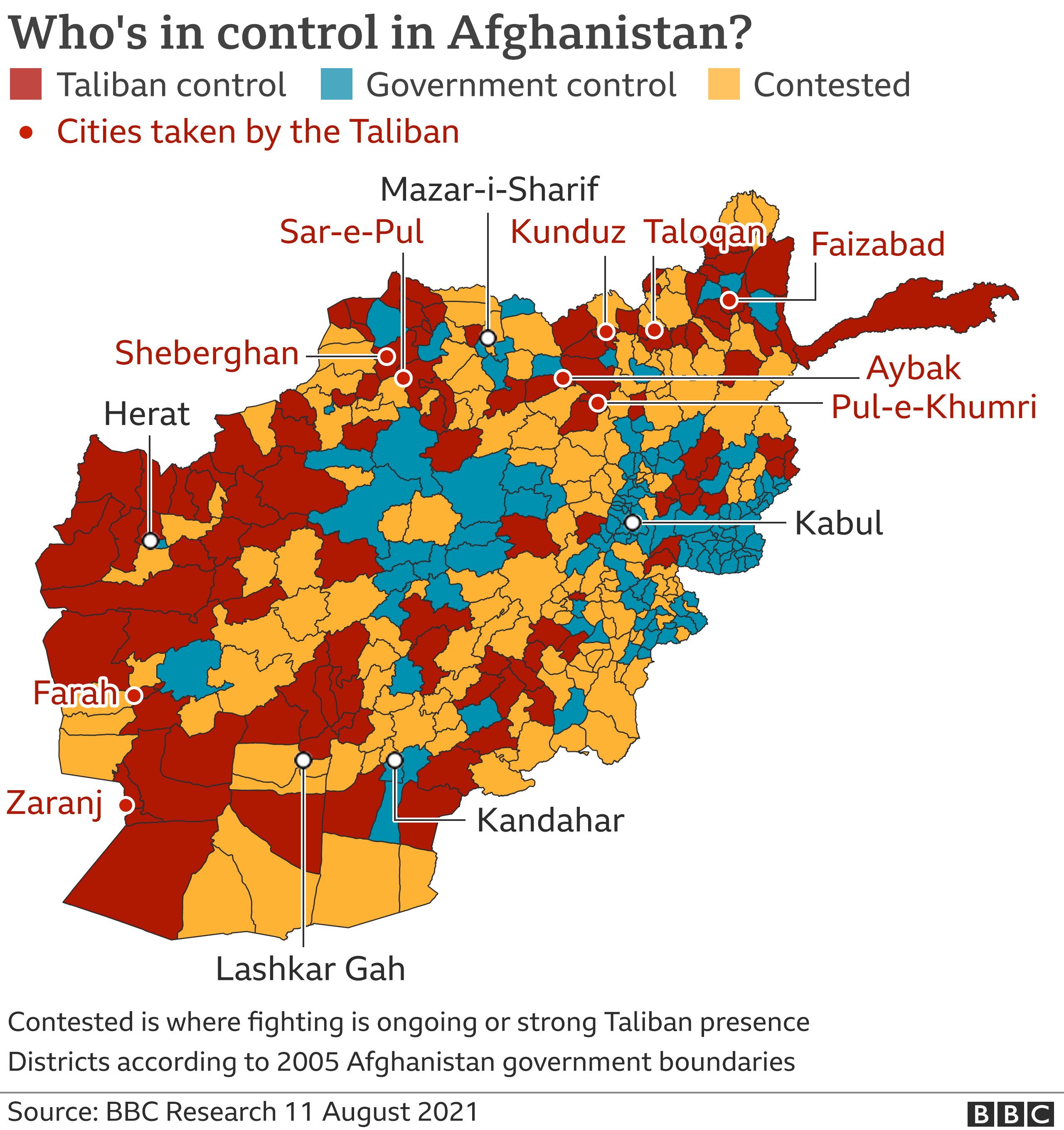 Map shows who's in control of Afghanistan