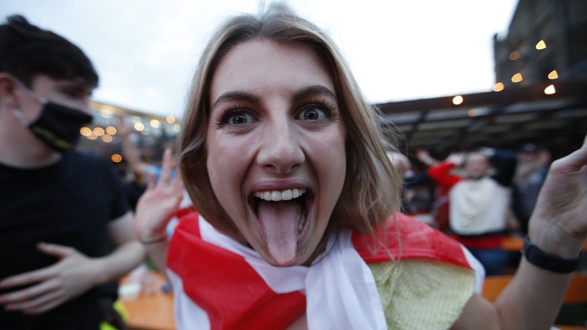A fan celebrates at the Vinegar Yard in south east London