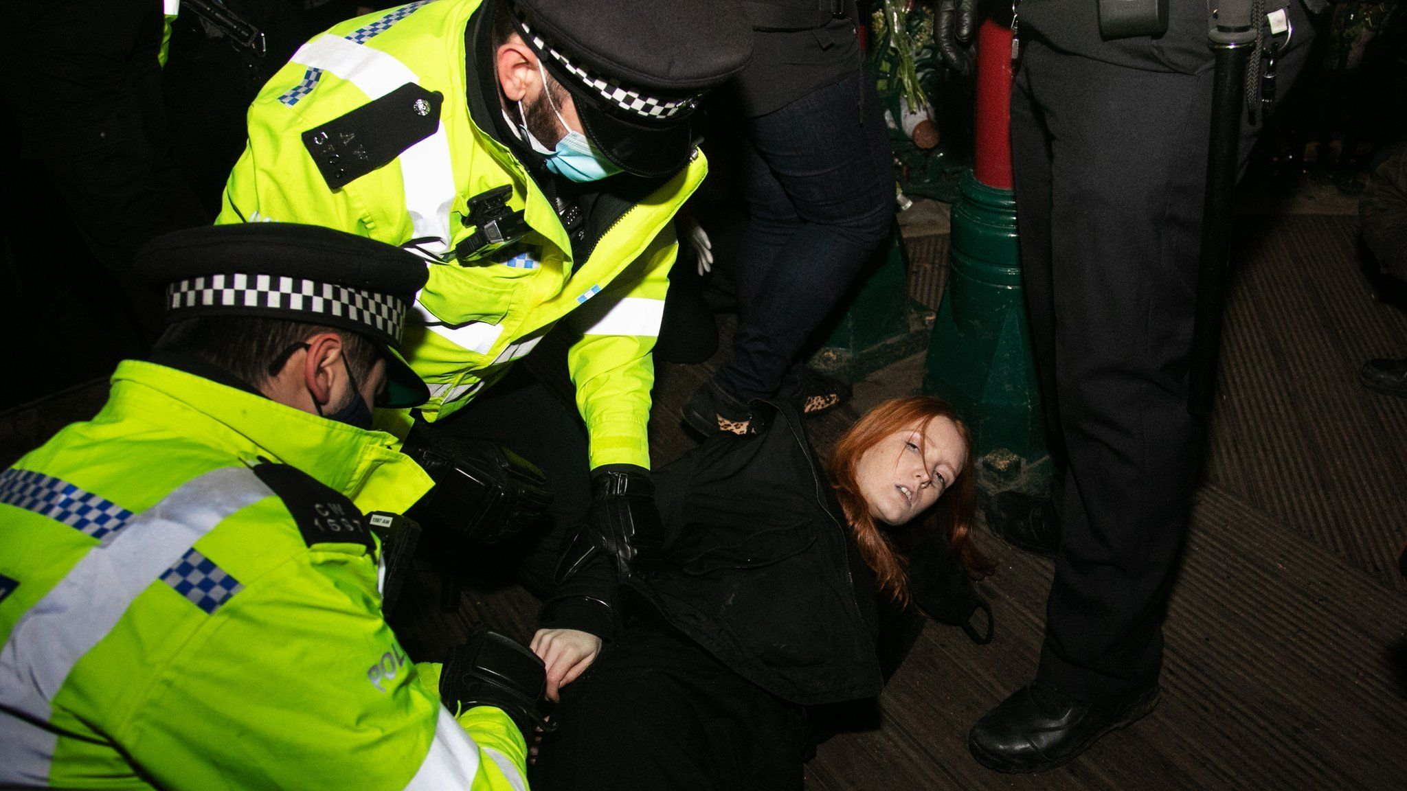 Patsy Stevenson is arrested by police at Saturday's vigil for Sarah Everard