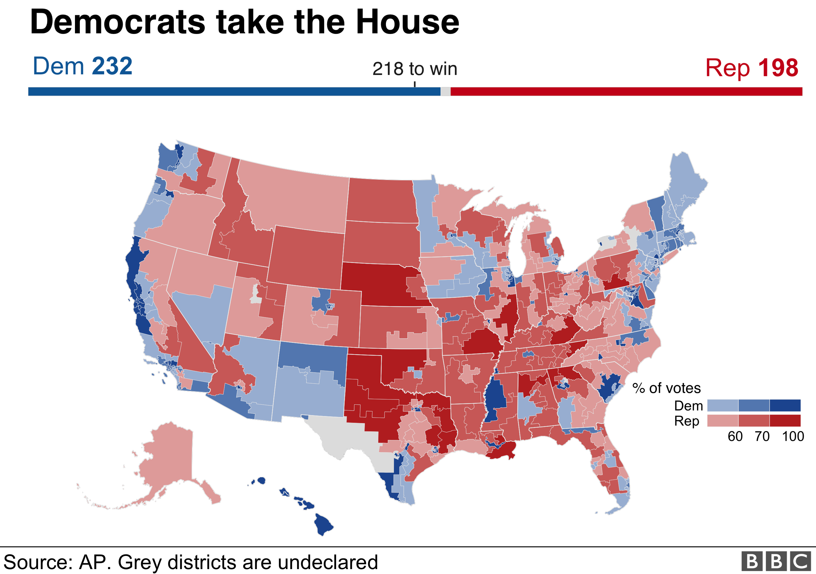 Us House Map 2018 US mid term election results 2018: Maps, charts and analysis   BBC