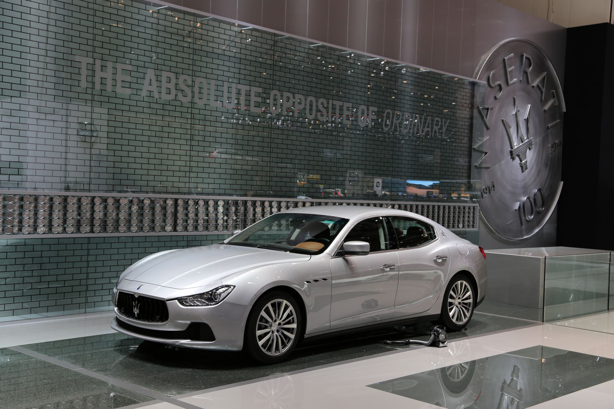 A Maserati Quattroporte on display in Geneva in 2014