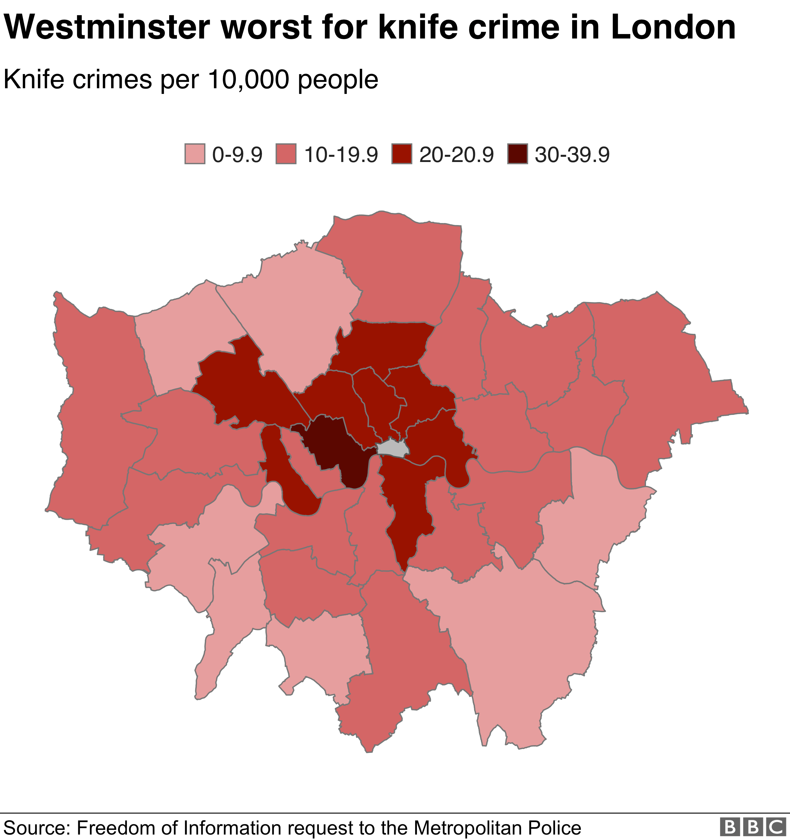 Map showing knife crime levels in London
