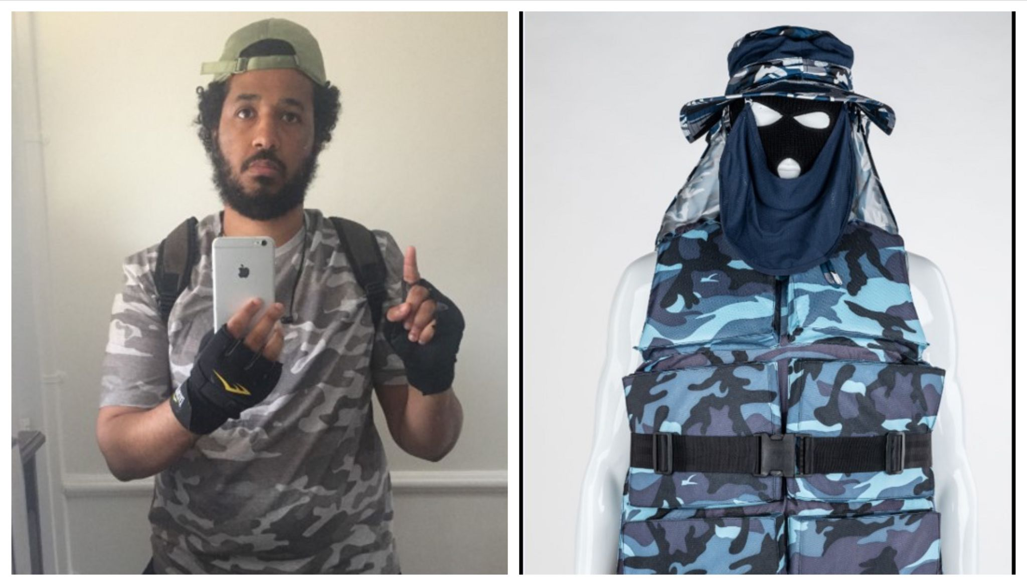 Sahayb Abu and the kit he planned to wear in the attack