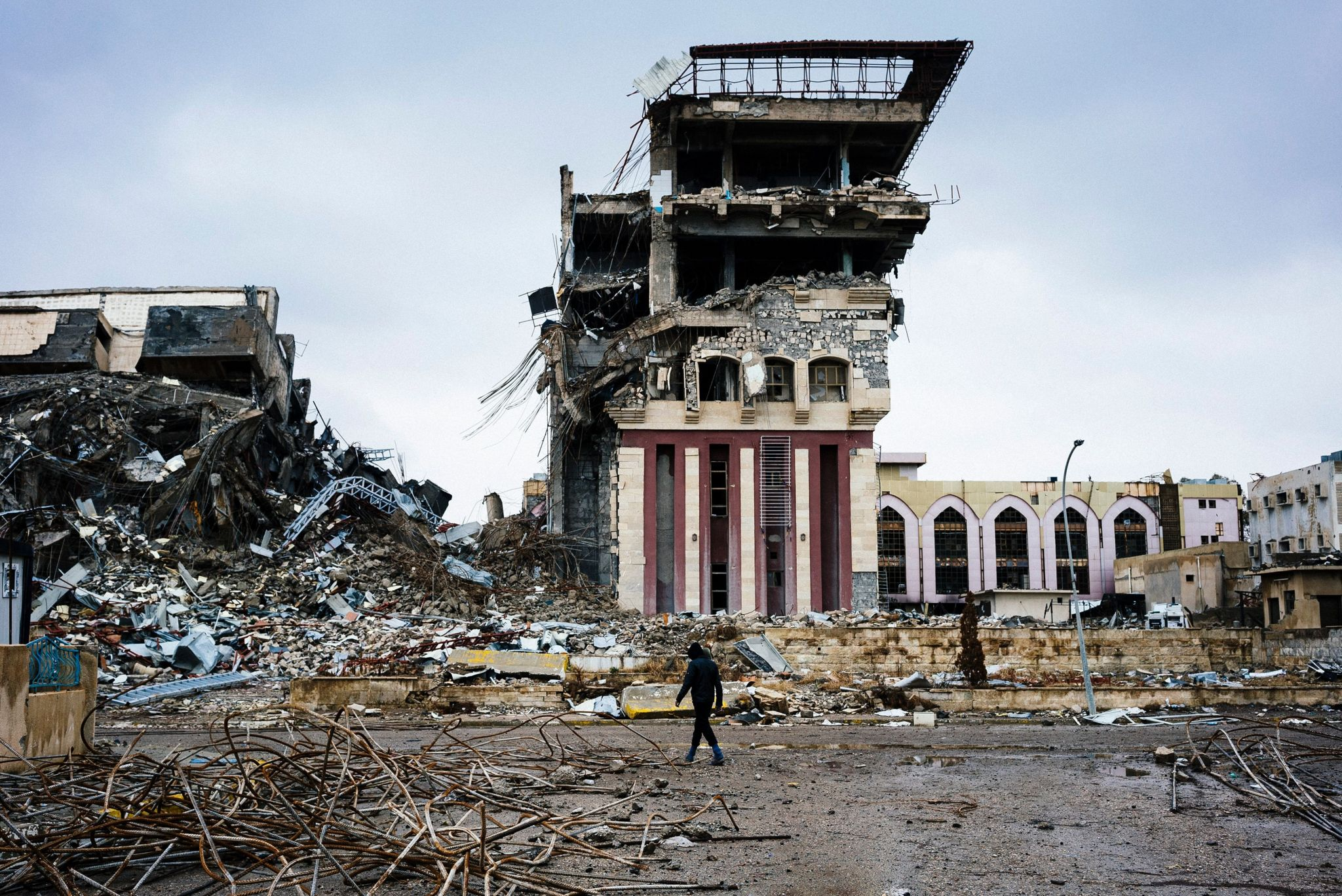 Ruined buildings on Mosul University campus