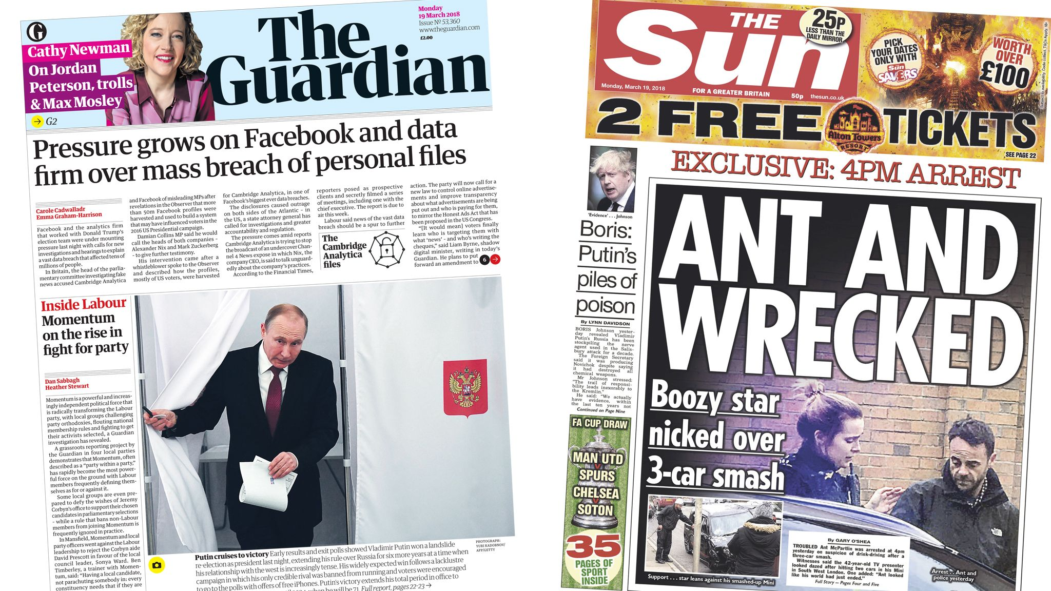 Guardian and Sun front pages for 19/03/18