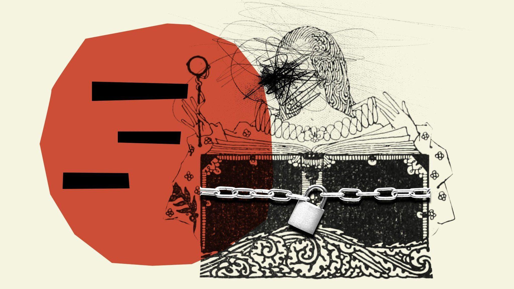 book with padlock illustration