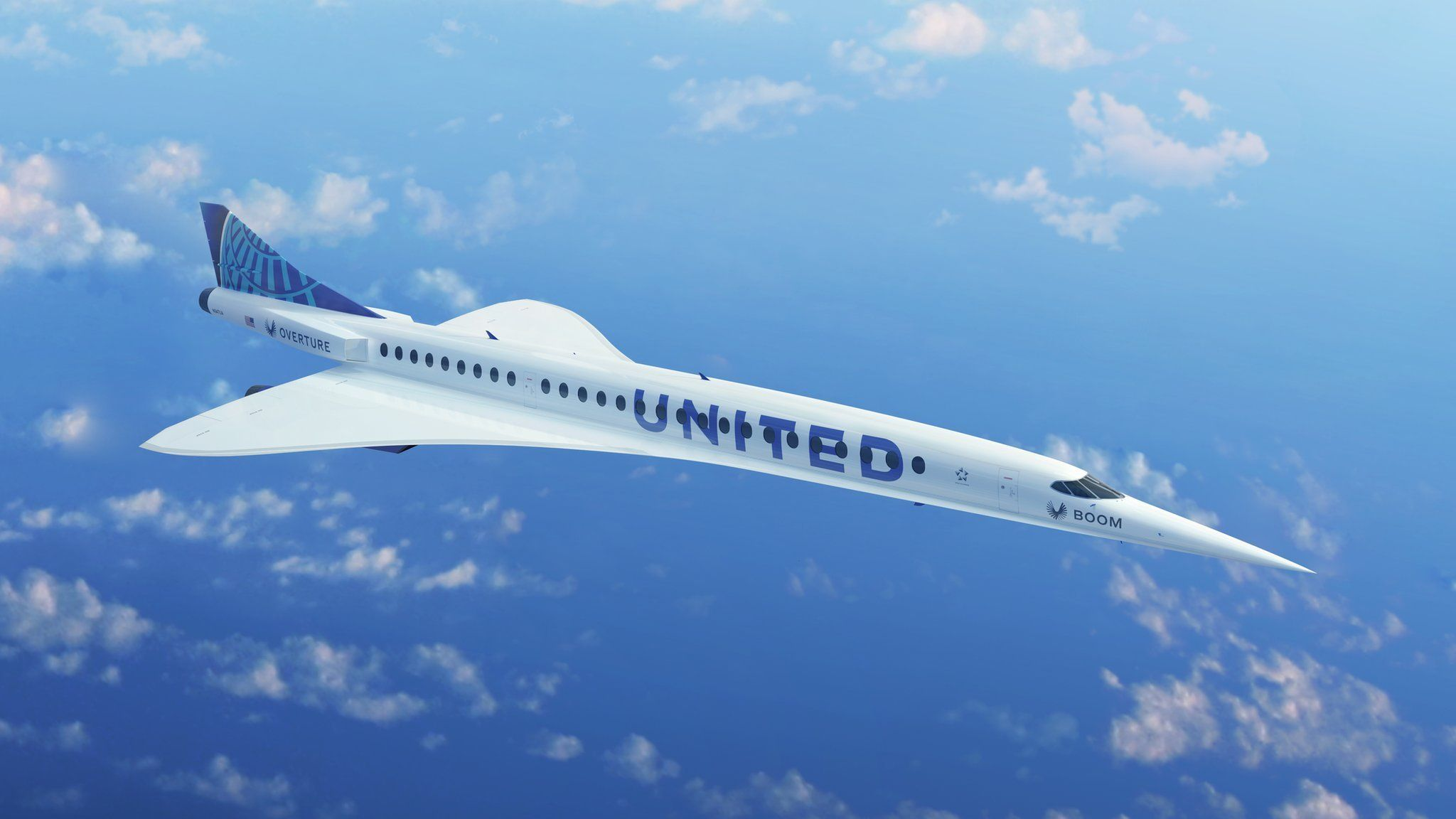 An Overture supersonic plane in United livery