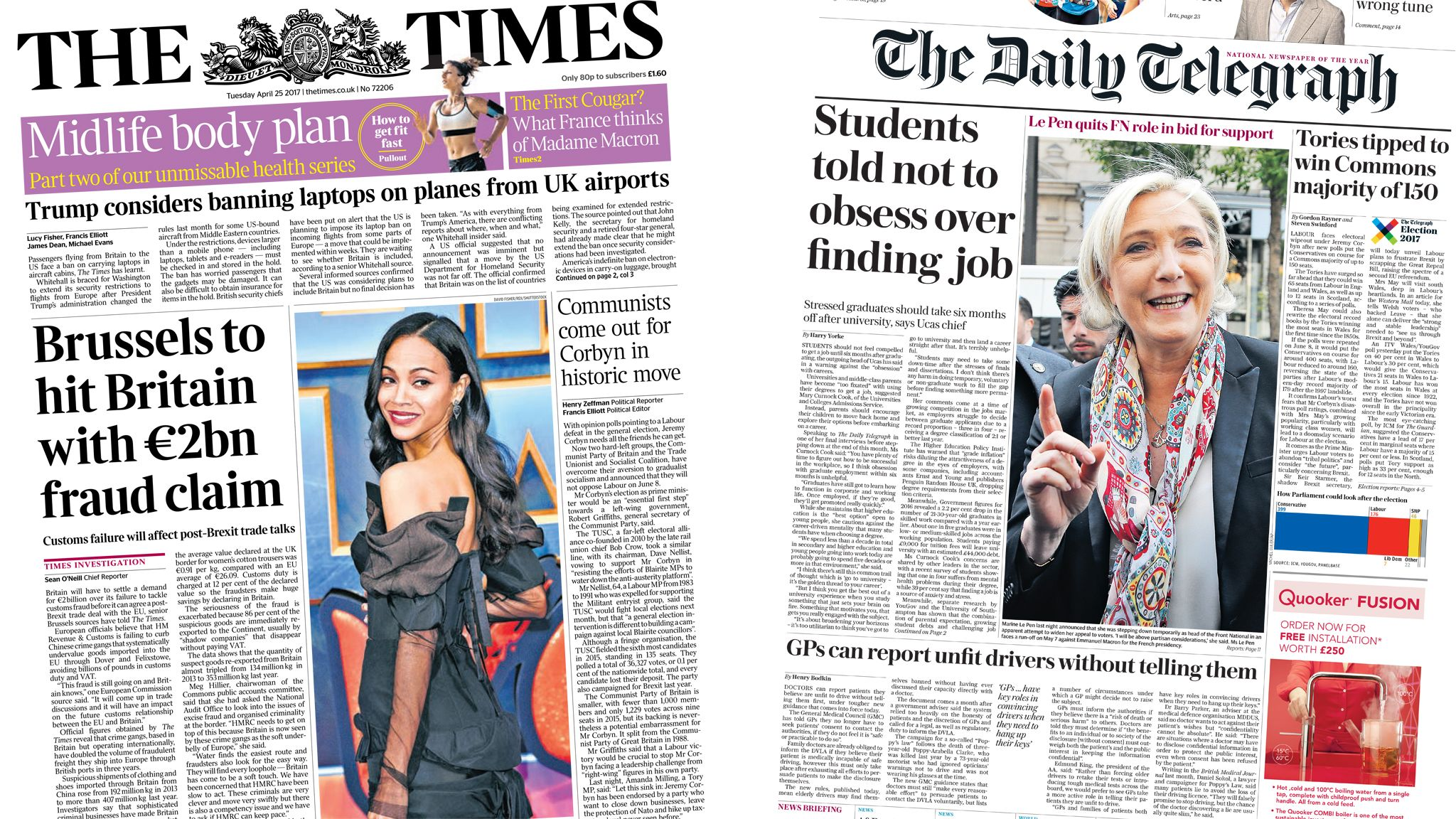 Times and Daily Telegraph front pages for 25/04/17