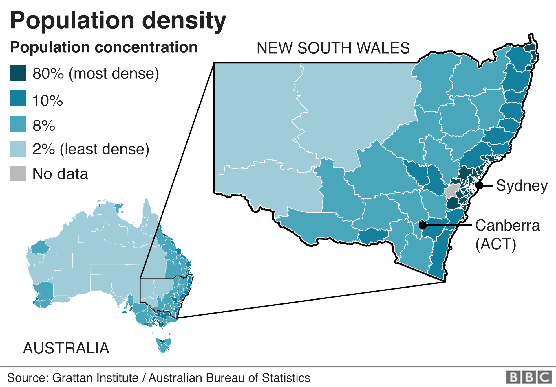 Map showing population density in New South Wales Australia