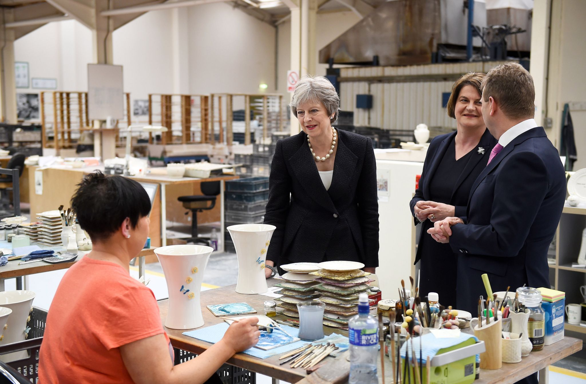 Theresa May and Arlene Foster visiting Belleek Pottery in County Fermanagh