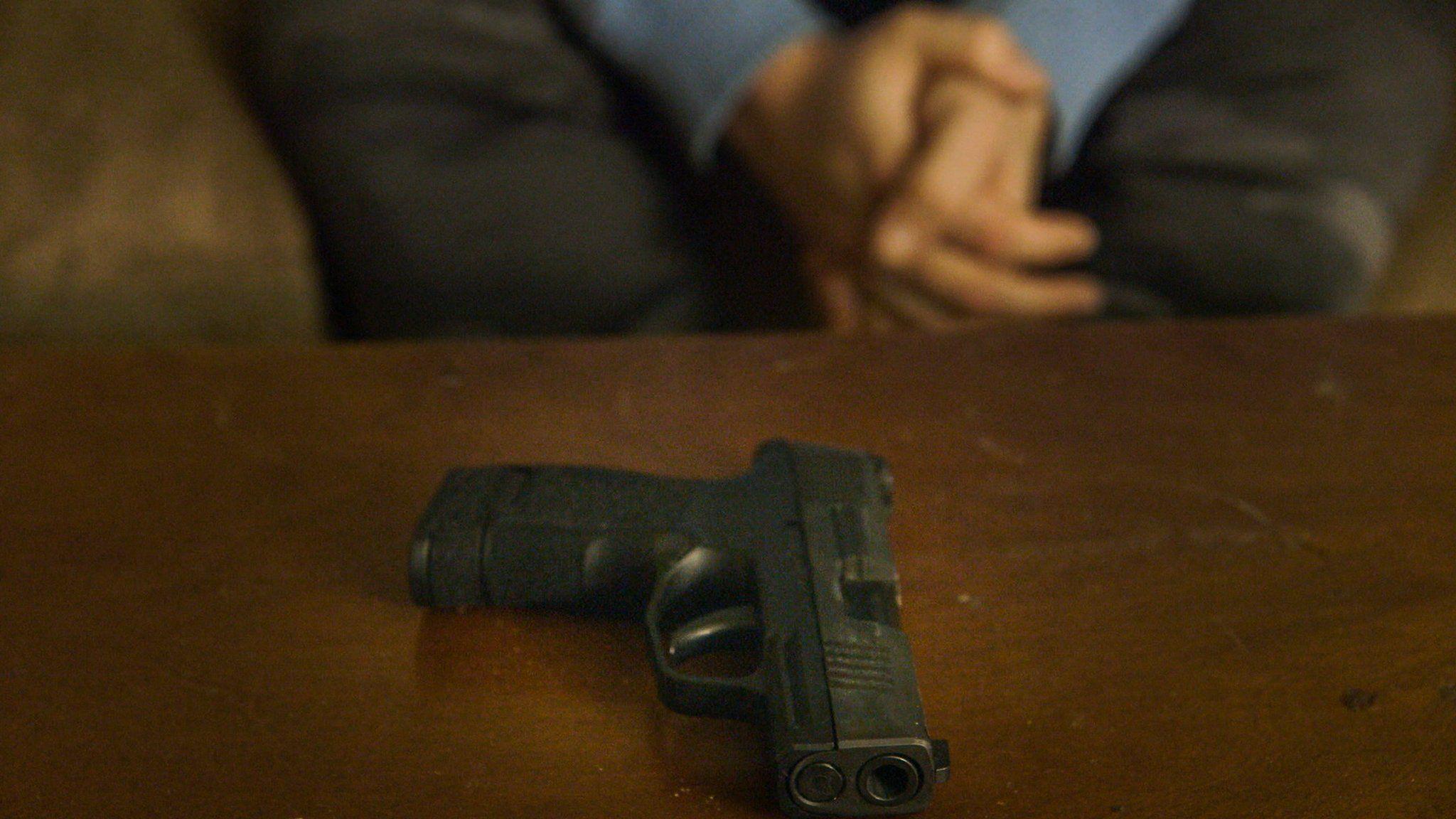 close up of gun