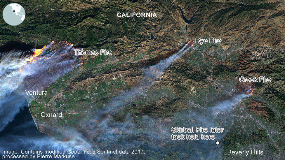 California Wildfires Flames Seen From Space Bbc News