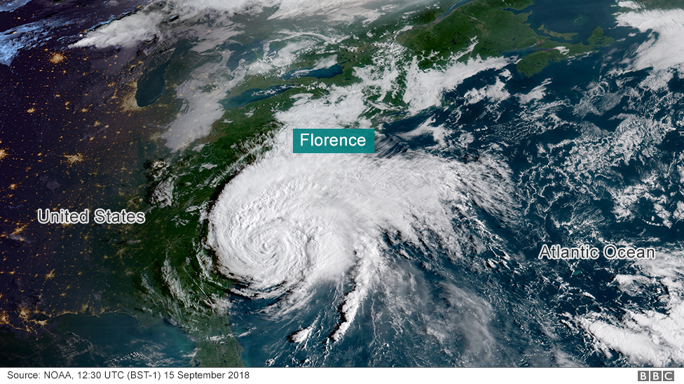 hurricane florence where is being hit bbc news