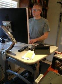 Peter Bowes at the treadmill desk