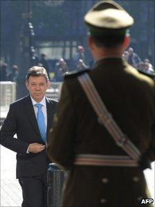 Colombian President-elect Juan Manuel Santos on a visit to Chile on 26 July