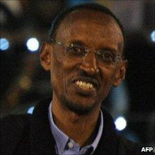 Rwandan President Paul Kagame at a celebration rally in Kigali on 10 August 2010