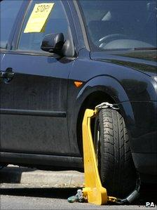 A wheel clamp