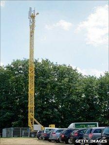 The mast behind the festival venue in Belgium