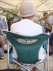 Pensioner at the Henoko sit-in camp