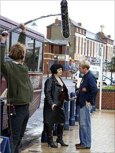 Gavin and Stacey being filmed in Barry