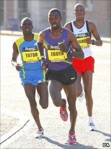 Joseph Ebuya from Kenya on his way to winning the Great South Run