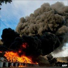 Marijuana burning, part of a haul of 134 tonnes, Tijuana, Mexico, 20 October