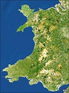 Satellite map of Wales (generic)