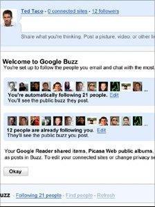 Google Buzz homepage