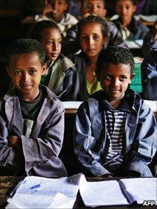 School children in class in Bekoji, 2007